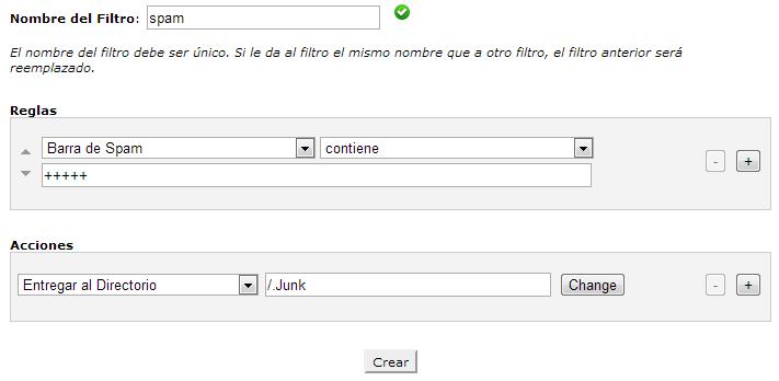 Crear filtro de correo