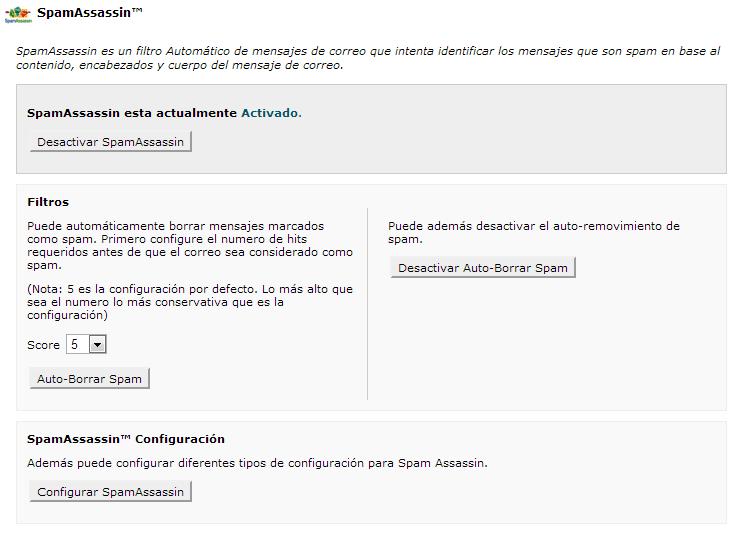 Pantalla de configuración de Spam Assassin